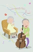 イラスト 音楽を楽しむシニア夫婦