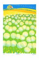タンポポの綿毛と麦畑(リトグラフ)