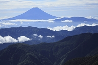 山梨県 南アルプス市 北岳 夏の富士山と雲海と山並み