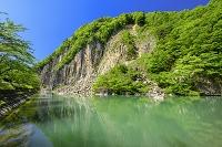 宮城県 白石市 白石川と材木岩(柱状節理)
