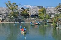 岐阜県 水門川と観光船 水の都おおがき舟下り
