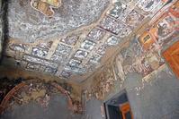 インド アジャンター石窟群 第17窟 壁と天井に描かれた絵