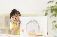 描いた絵を見せる日本人の女の子