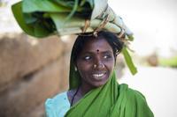 バナナの葉を運ぶ女性