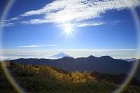 静岡県 富士見平 朝の富士山と太陽(合成)