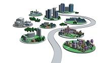 道路と楕円の街