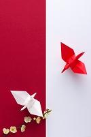 梅と折り鶴