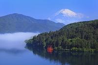 神奈川県 残雪の富士山と芦ノ湖の箱根神社