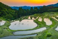 兵庫県 朝のうへ山の棚田
