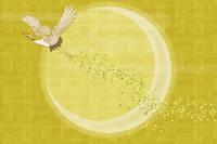 羽ばたく丹頂鶴と三日月
