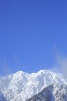 長野県 雪景色の爺ヶ岳と青空