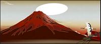 赤富士とツル