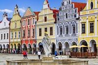 チェコ テルチ ザハリアーシュ広場に面した家並み