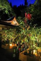 京都府 貴船神社 ライトアップされた七夕笹飾りと本宮