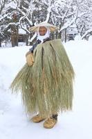 秋田県 雄物川民家苑木戸五郎兵衛村での昔の雪の防寒具