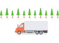 大型トラックと街路樹