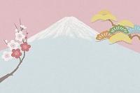 富士山と梅と松 イラスト
