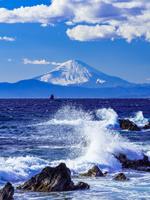 神奈川県 横須賀市 荒崎海岸と富士山