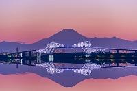 東京都 富士山と東京ゲートブリッジの夜景