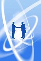 握手するビジネスマンと重なるリング CG