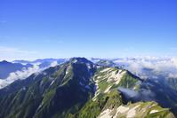 富山県 北アルプス剱岳より望む朝の立山方面の山並み