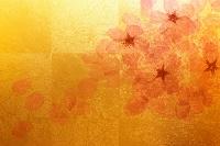 金屏風と桜