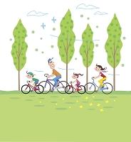 イラスト サイクリングをする家族