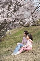 桜並木の土手に座って花見をする母と女の子