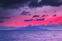 北海道 利尻島の夕景と太平洋