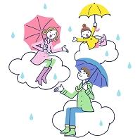 イラスト 雲に乗った傘をさす家族