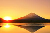 山梨県 日の出の精進湖と富士山