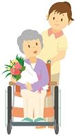 車いすを押してもらう花束を持つ老人女性