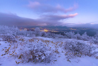長野県 冬の美ヶ原から北アルプスと松本平の夜景