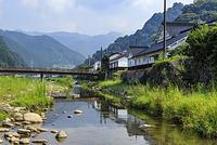 岡山県 高瀬舟発着場跡と勝山の街並み