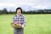 畑で野菜を持つミドル女性