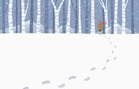 雪降る冬の森林 イラスト