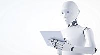 タブレットを持つロボット(3Dレンダリング)