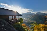 山形県 山寺(立石寺)五大堂と展望と朝日
