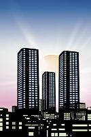都会のビル群と太陽