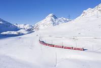 スイス 雪原を走るベルニナ特急