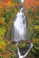 秋田県 紅葉の抱返り溪谷の回顧の滝
