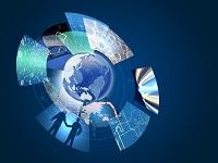 地球と丸い画面のビジネス
