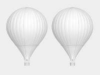熱気球のモノクロ