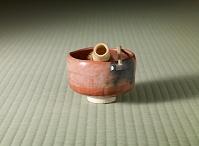 赤楽茶碗と茶筅と茶杓