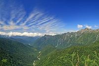 岐阜県 南岳の尾根から笠ヶ岳右の山