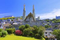 長崎県 日本二十六聖人記念館 記念聖堂と長崎市街地