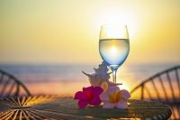 海をバックにグラスと貝とプルメリア