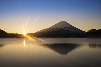 山梨県 精進湖より朝の富士山