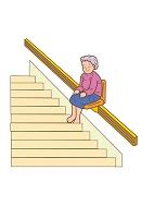 階段リフトに乗っている女性