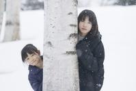 雪にいる日本人女の子
